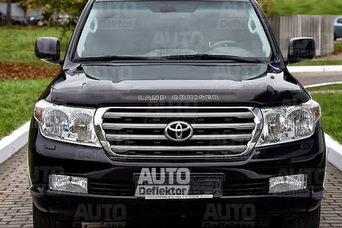 Дефлектор капота TOYOTA Land Cruiser 200 (2007-) (темный)  STOLCR0712 c логотипом